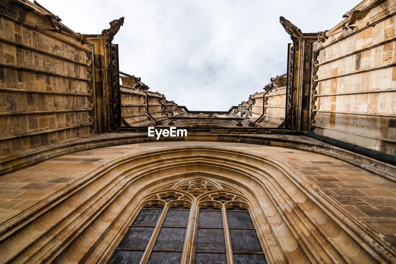 Low angle view of arch in cathedral of prague