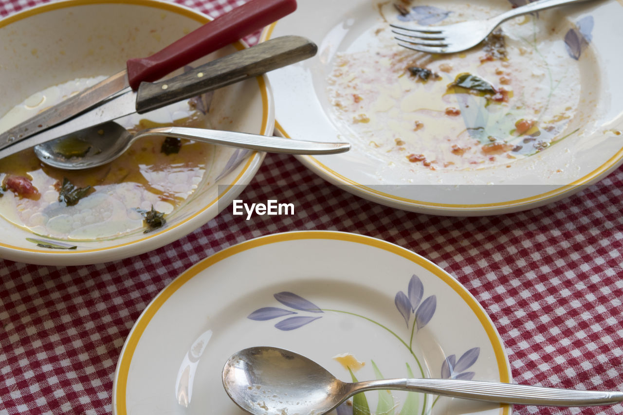 food, food and drink, plate, kitchen utensil, eating utensil, spoon, table, healthy eating, high angle view, bowl, wellbeing, freshness, ready-to-eat, tablecloth, indoors, still life, meal, no people, serving size, fork, crockery, table knife, breakfast, garnish