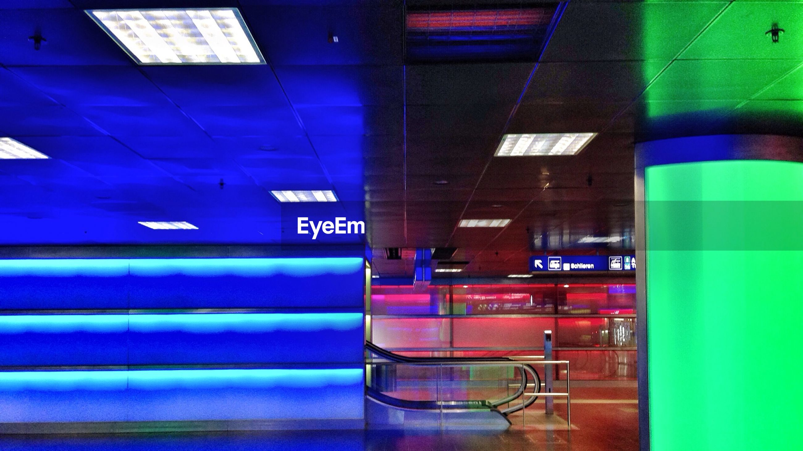 Illuminated underground subway station