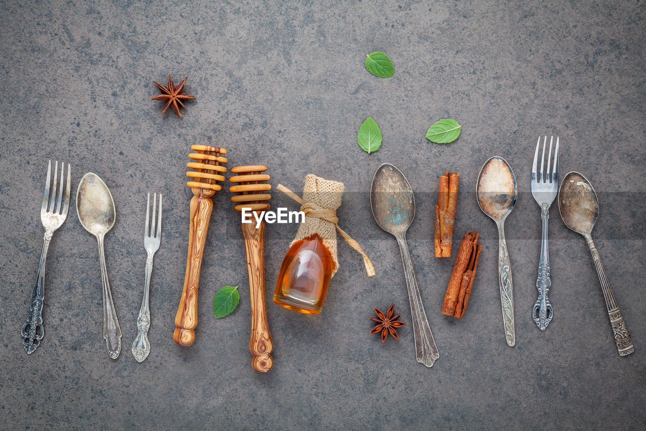 Directly above shot of spoons on table