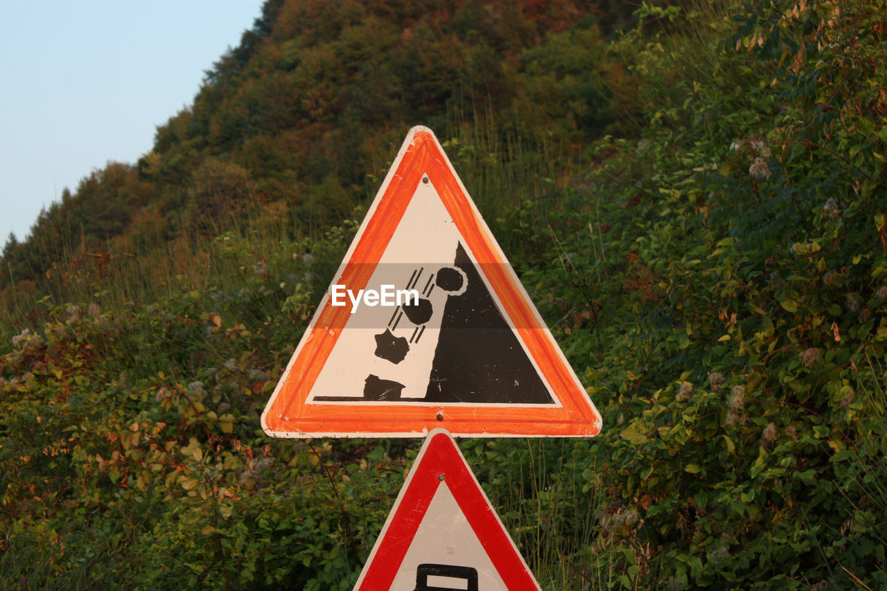 triangle shape, road sign, warning sign, tree, day, no people, communication, growth, outdoors, red, close-up, sky