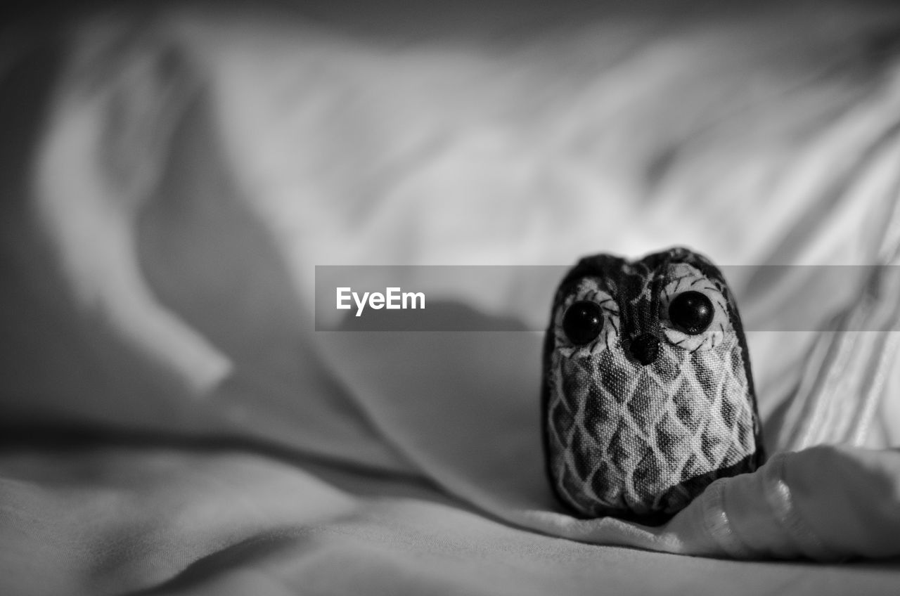 Close-Up Of Owl Toy On Bed