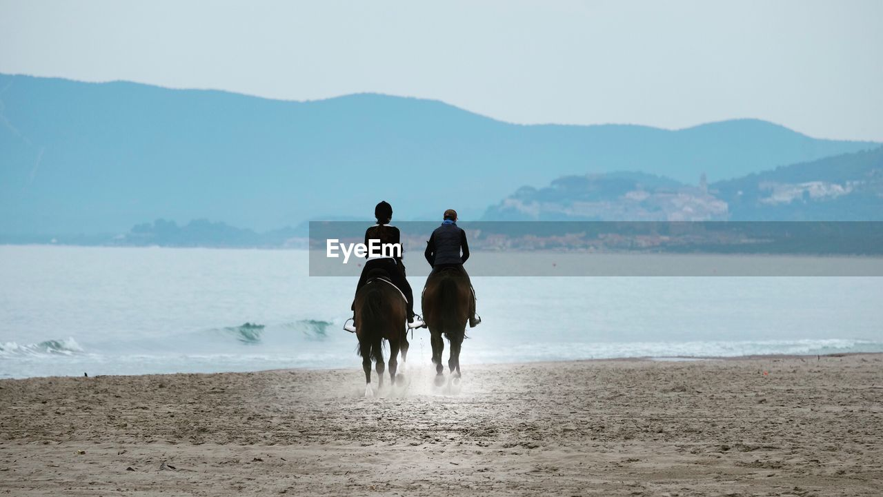 Rear view of people riding horses at beach against sky
