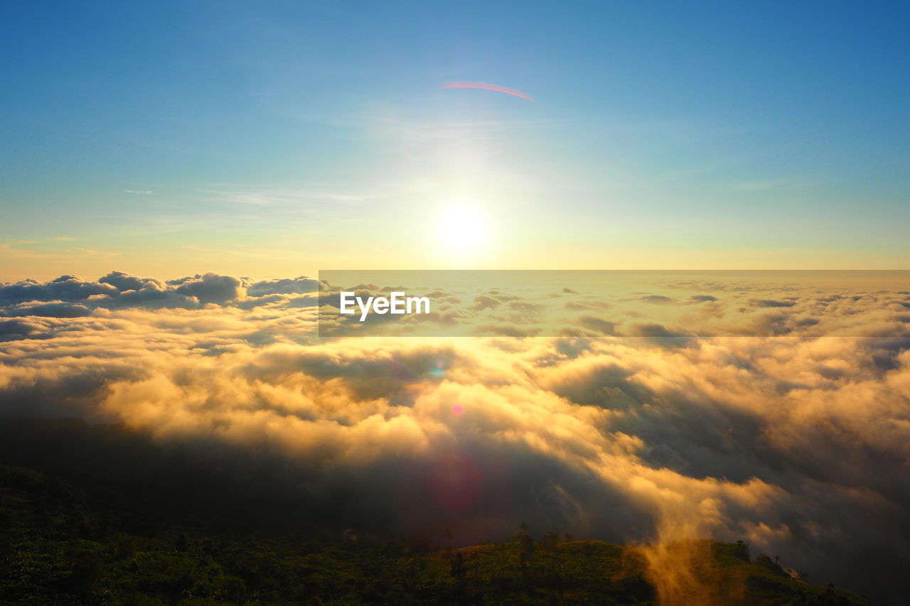 AERIAL VIEW OF CLOUDS OVER LANDSCAPE AGAINST SKY DURING SUNSET