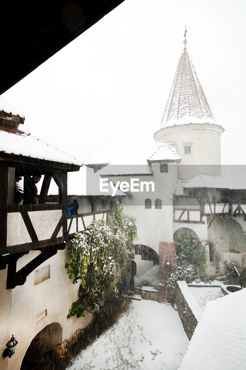 Snow Covered Bran Castle At Transylvania