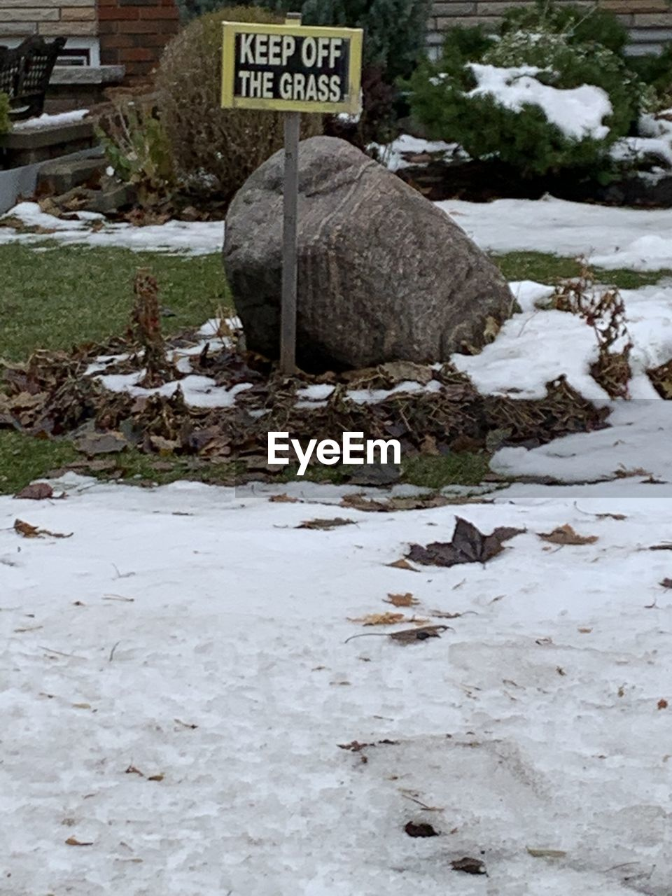 TEXT ON SNOW COVERED LAND