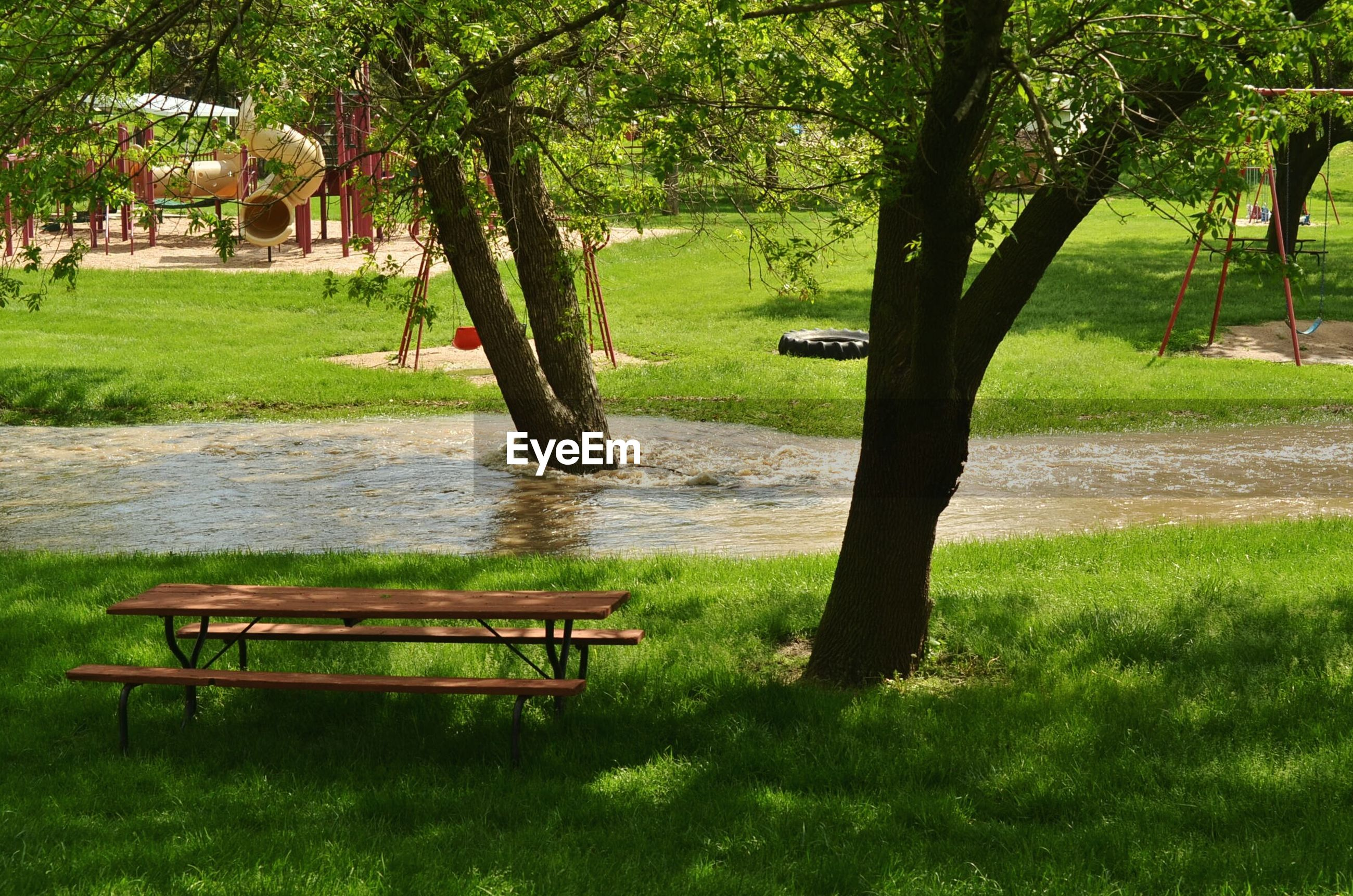 Empty picnic bench in park