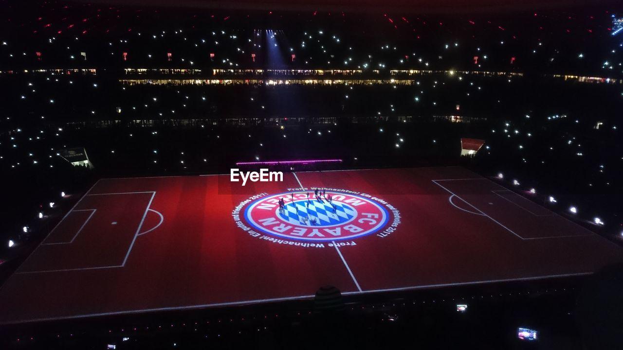 illuminated, night, communication, no people, indoors, sport, stadium