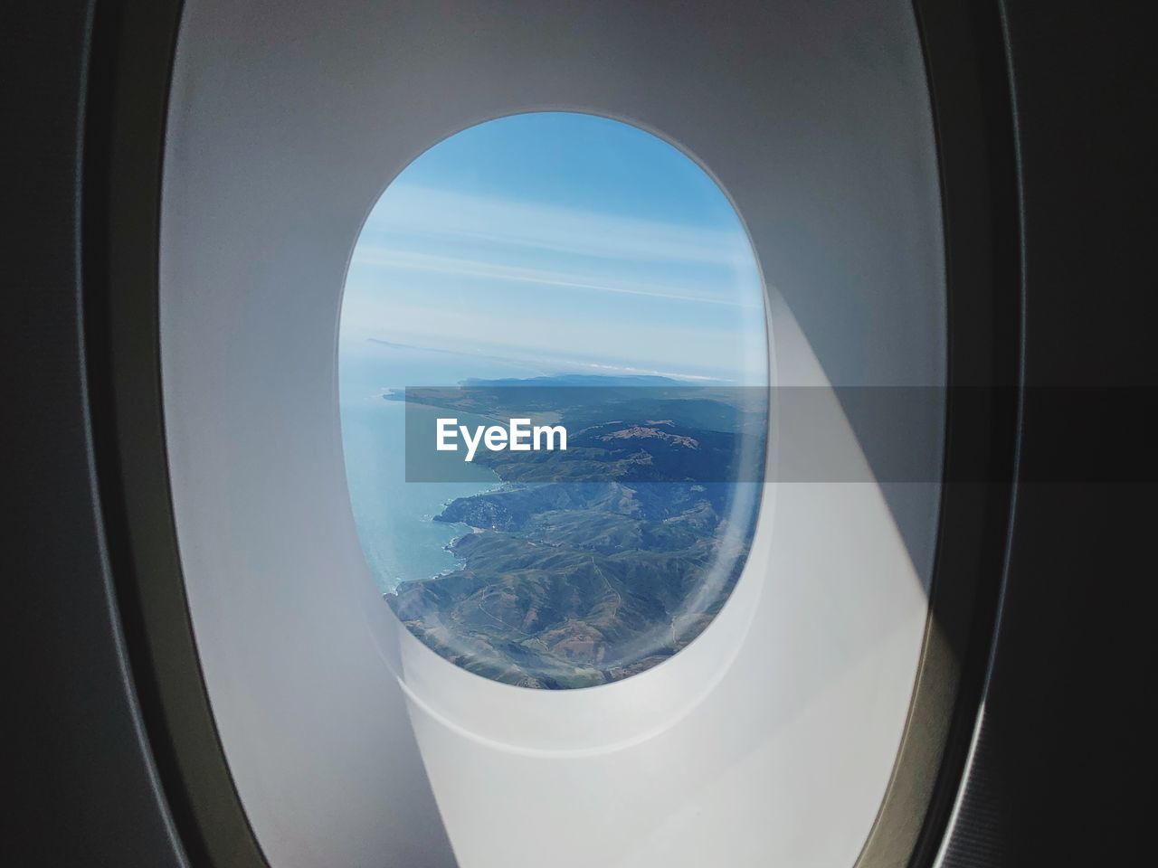 Sea through airplane window