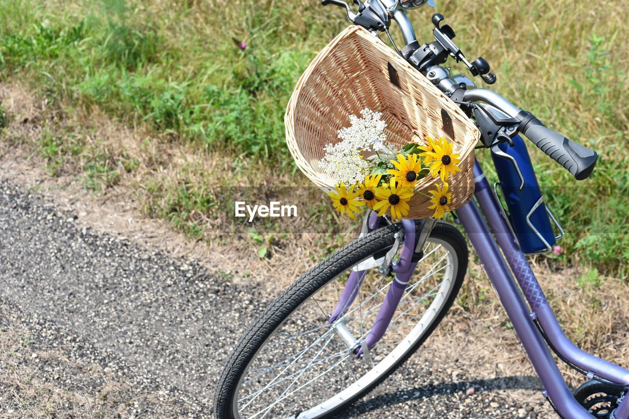 HIGH ANGLE VIEW OF BICYCLE PARKED ON FIELD BY LAND
