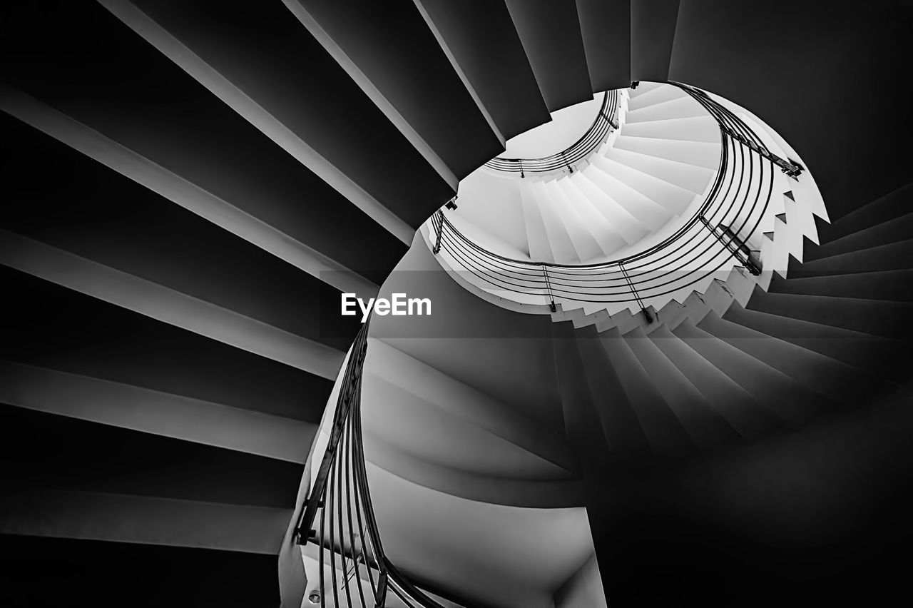 Low Angle View Of Spiral Staircase In Building