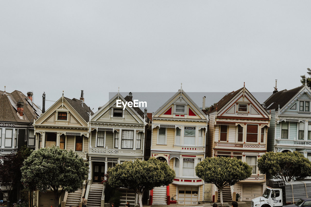 Row houses against sky