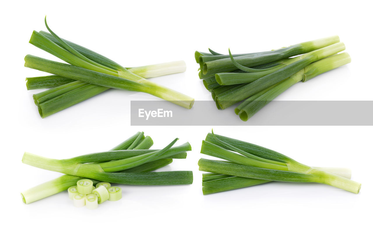 vegetable, healthy eating, green color, food and drink, freshness, studio shot, wellbeing, white background, food, indoors, still life, raw food, no people, close-up, bean, onion, green, spring onion, asparagus, high angle view, chopped, vegetarian food