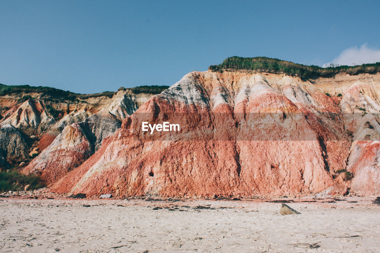 Scenic view of mountain in marthas vineyard against sky