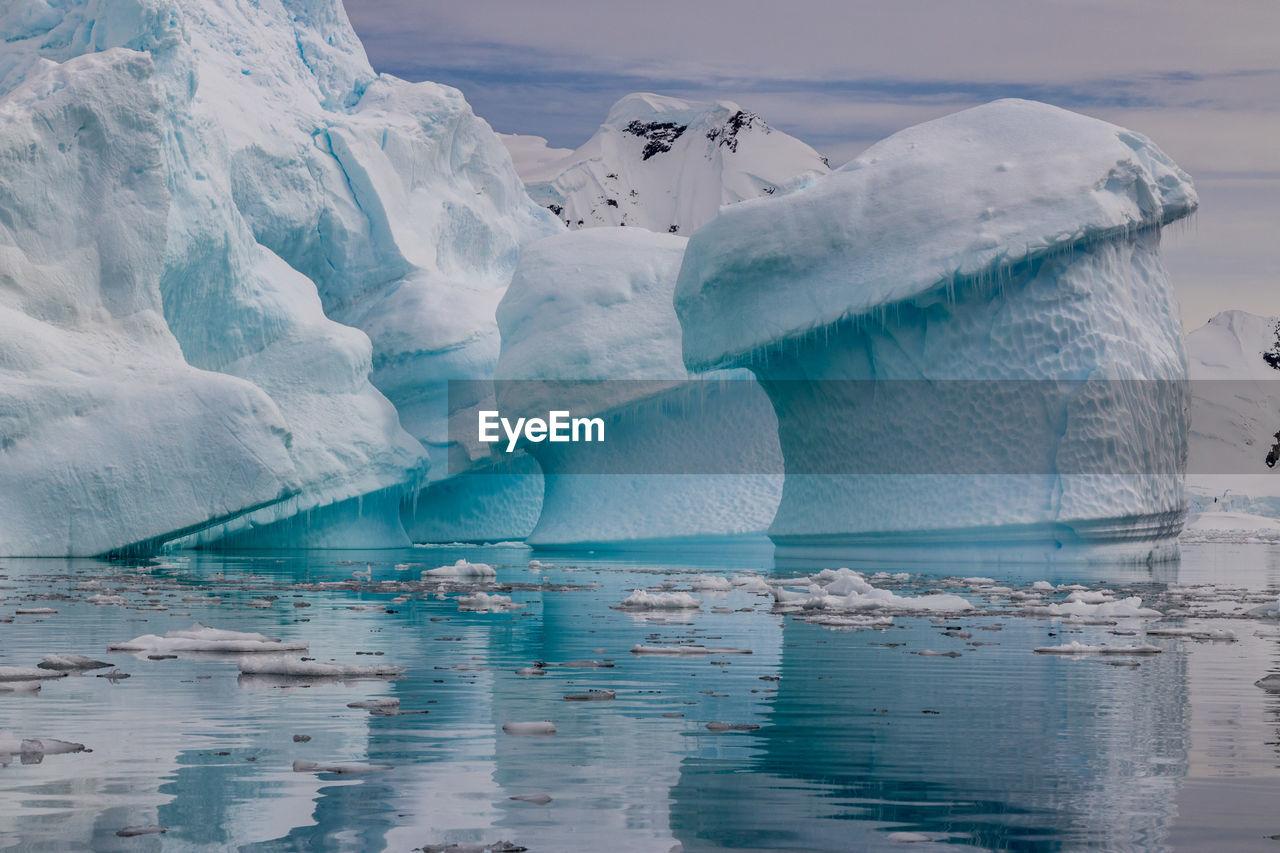 Strange shaped melting icebergs floating in the seas of the antarctic peninsula.