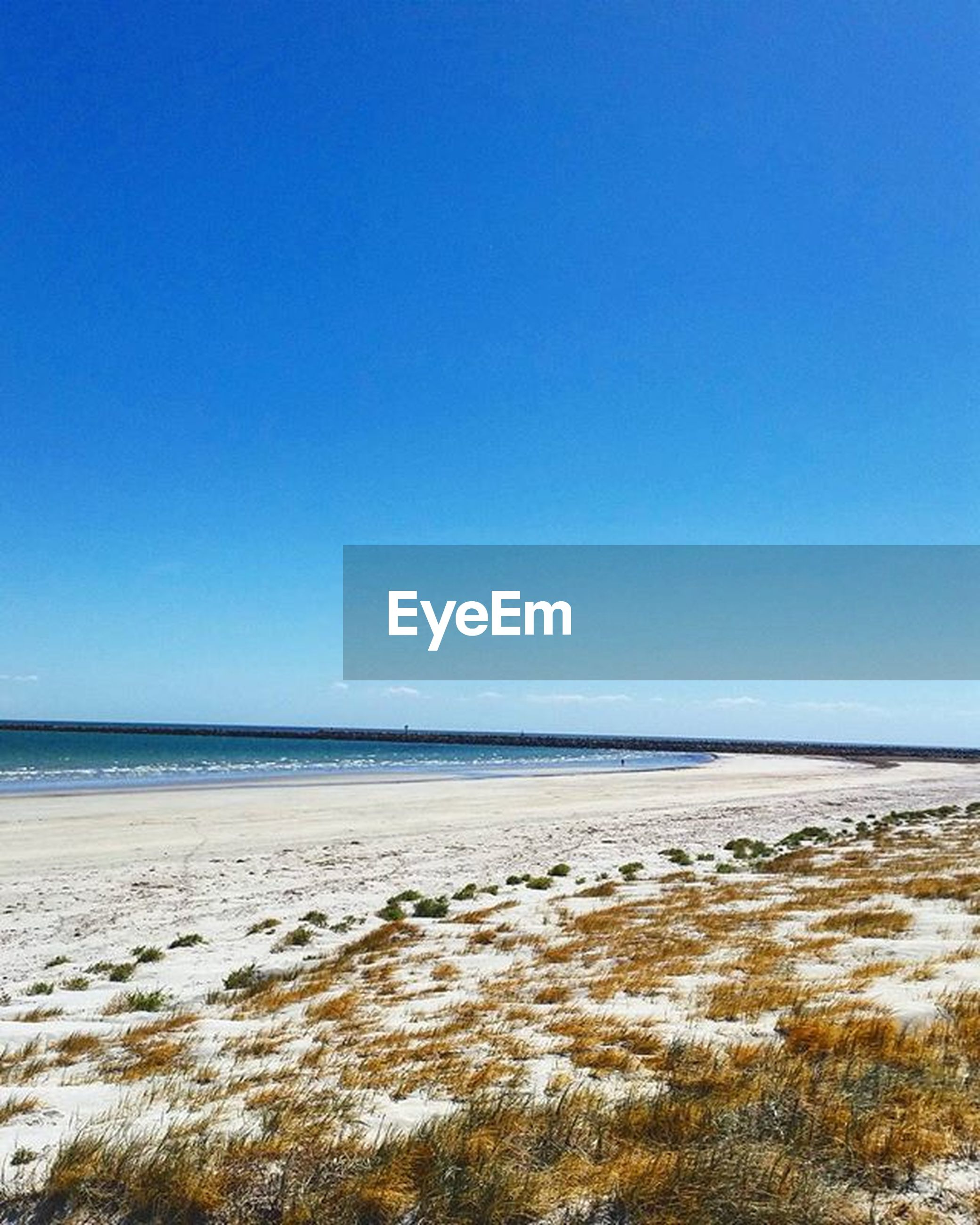 clear sky, copy space, water, sea, blue, beach, tranquil scene, tranquility, scenics, beauty in nature, sand, shore, horizon over water, nature, idyllic, day, remote, non-urban scene, outdoors, coastline