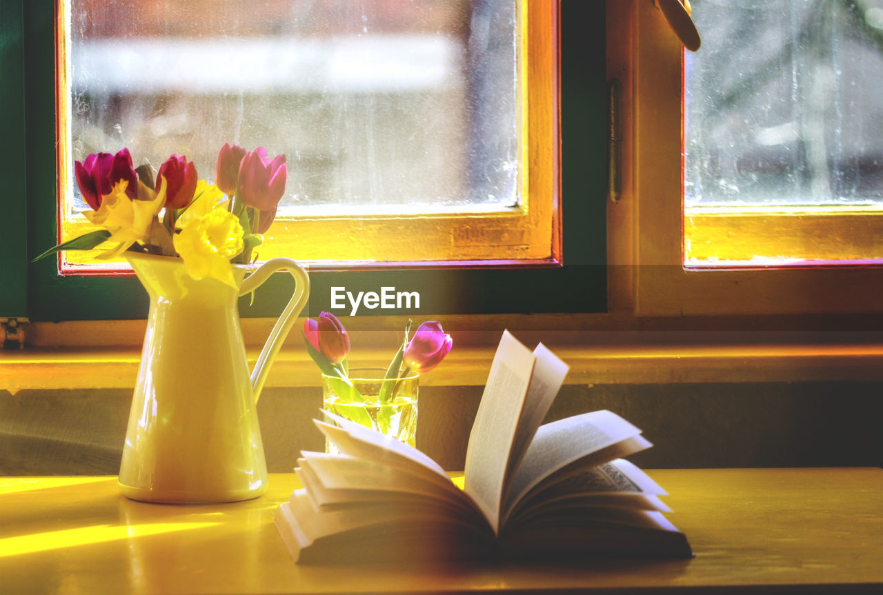 High Angle View Of Flower And Book On Window Sill