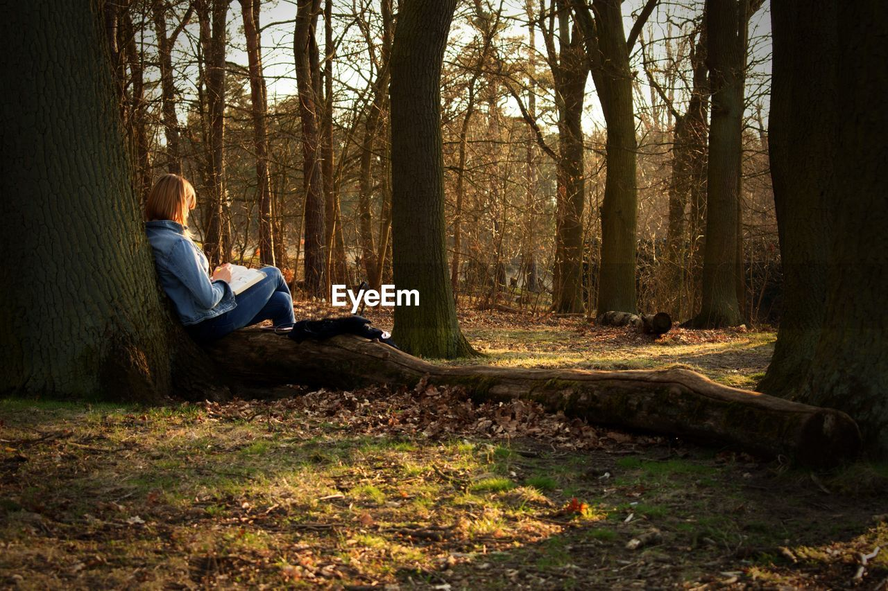 Woman Sitting By Tree Trunk In Forest