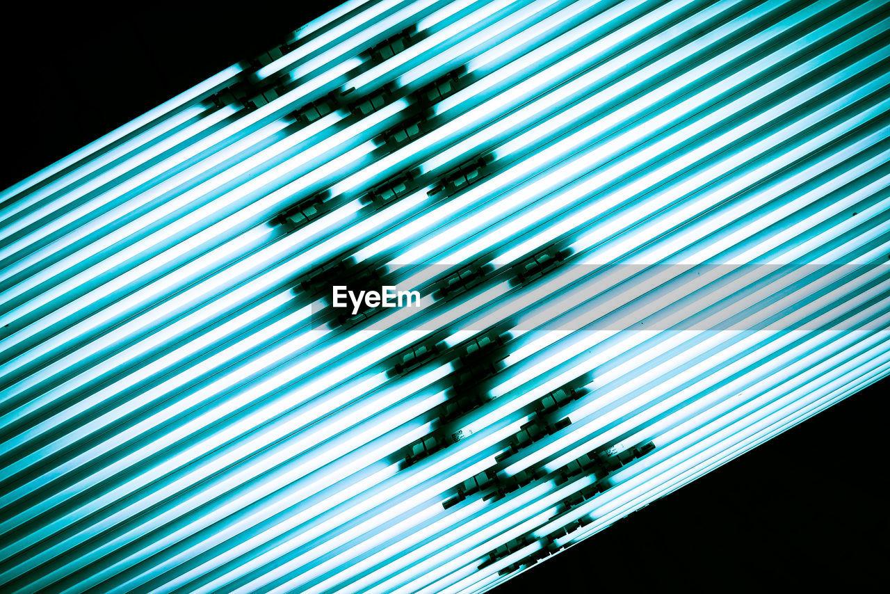 striped, pattern, technology, illuminated, communication, backgrounds, abstract, no people, close-up, futuristic, internet, night, indoors, corrugated iron, line