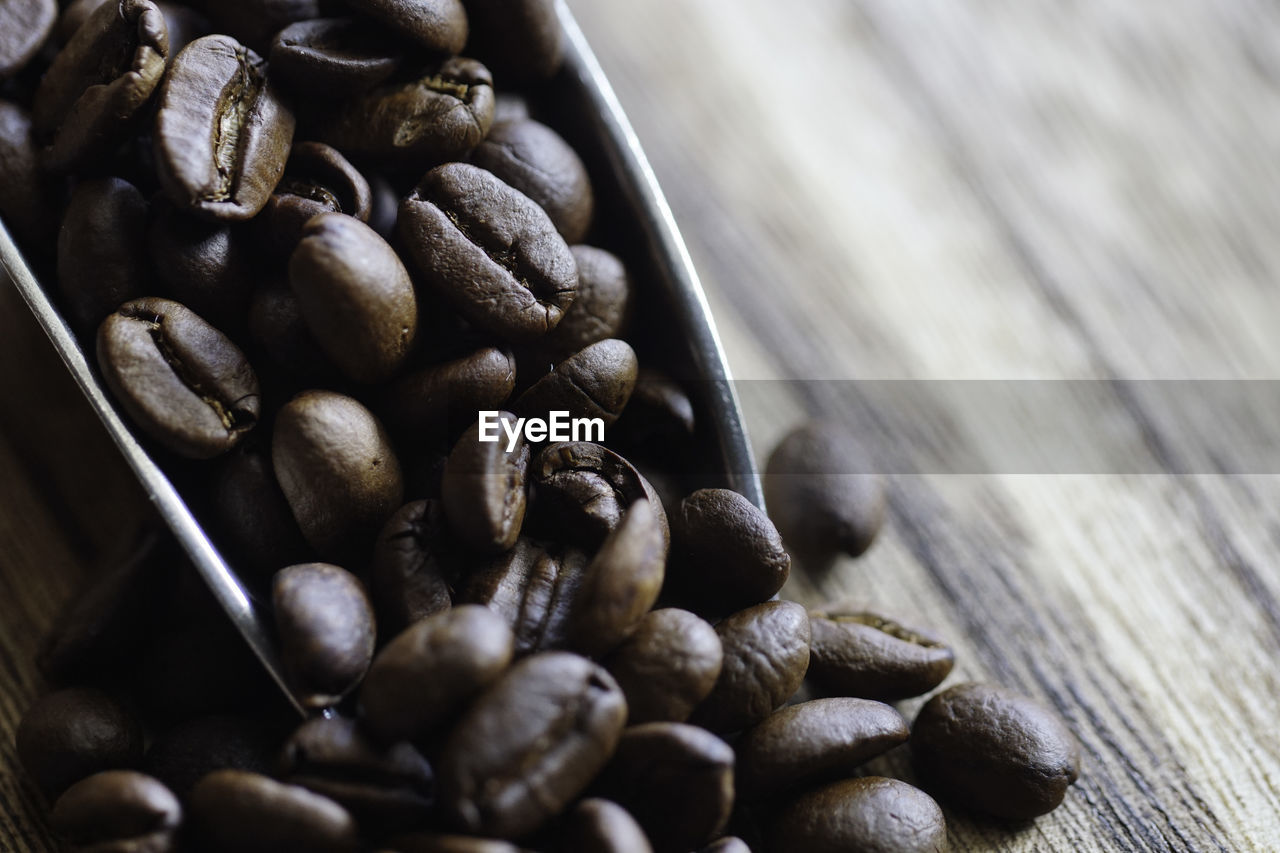 HIGH ANGLE VIEW OF ROASTED COFFEE BEANS IN CONTAINER