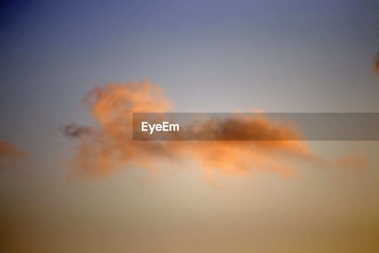 sky, orange color, cloud - sky, beauty in nature, scenics - nature, tranquility, sunset, no people, nature, tranquil scene, idyllic, outdoors, low angle view, dramatic sky, copy space, environment, cloudscape, dusk, abstract, day