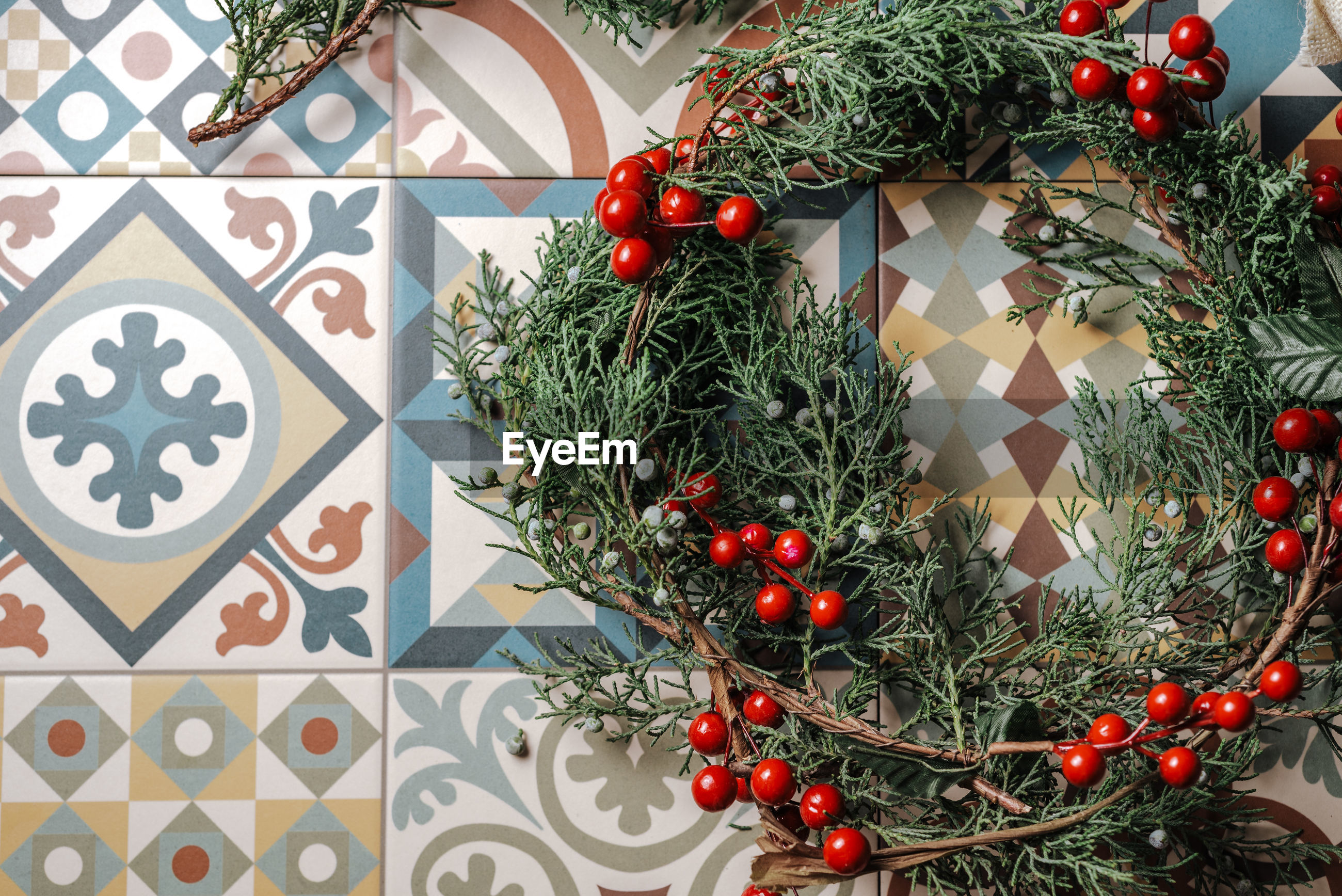 Directly above shot of wreath on table
