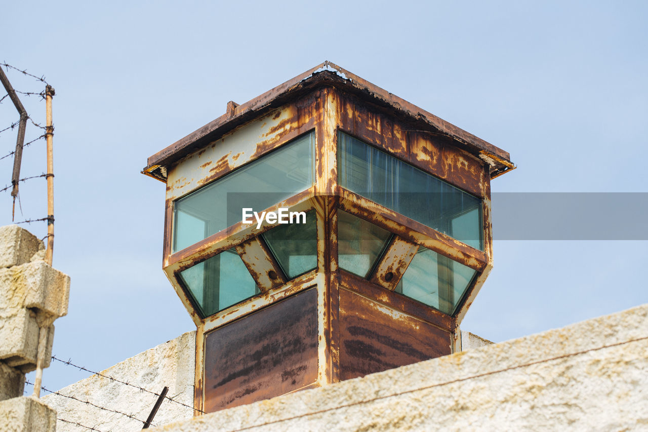 Low angle view of lookout tower against clear sky