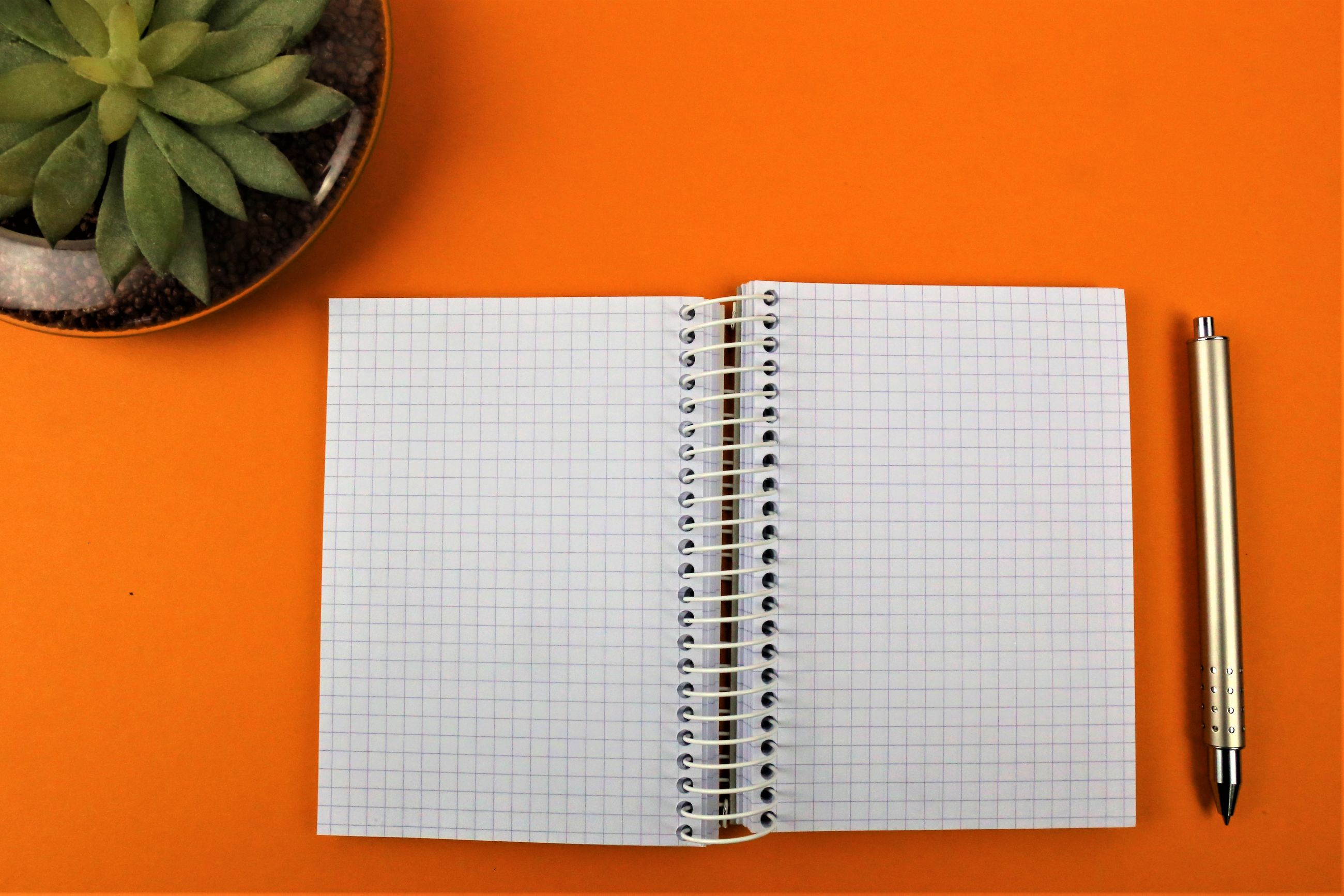 Directly above shot of open spiral notebook amidst pen and potted plant over orange background