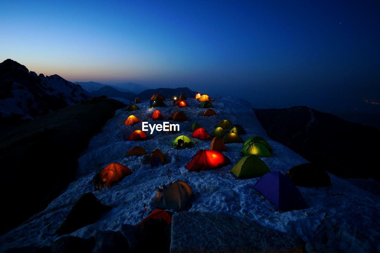 View Of Mountain Range At Night