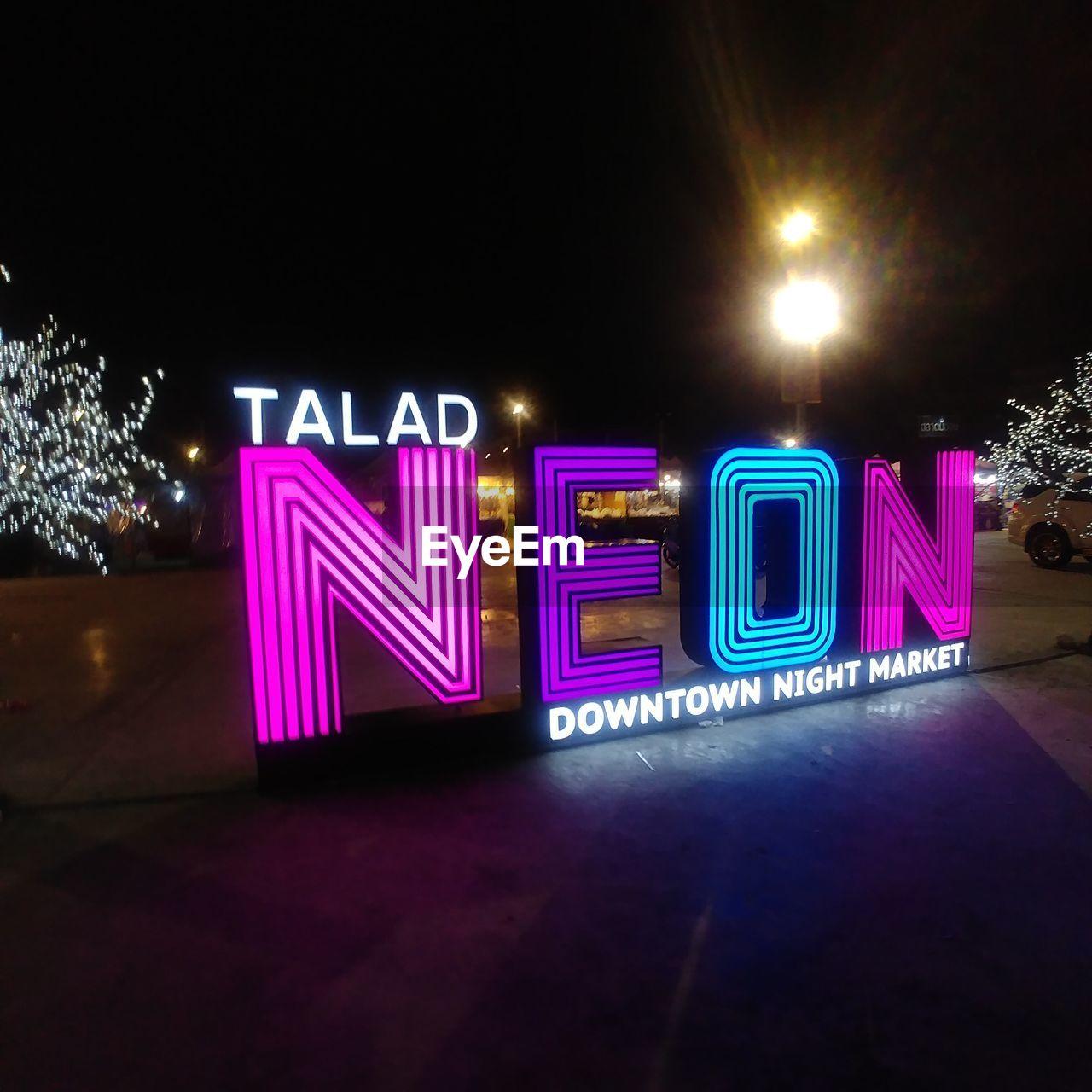 illuminated, night, neon, text, lighting equipment, communication, electricity, no people, outdoors, city