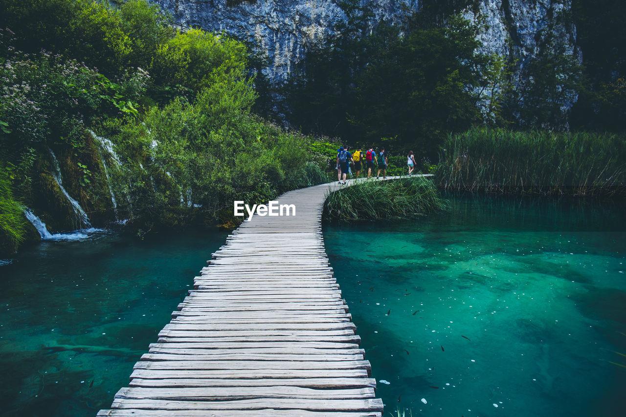 People walking on footbridge over river by trees