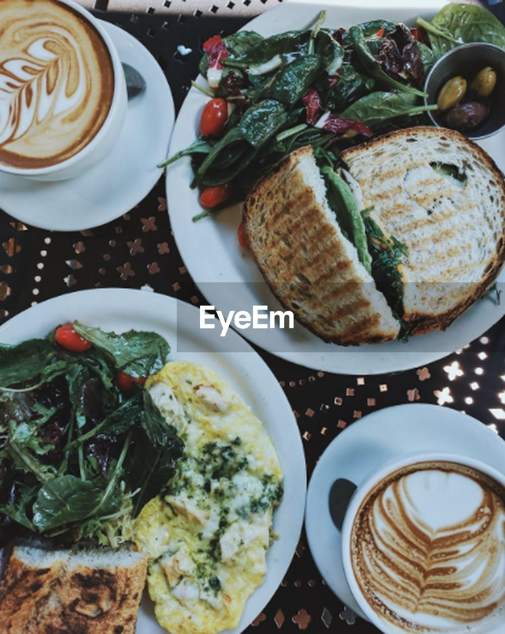 food and drink, coffee cup, coffee - drink, drink, freshness, food, plate, serving size, table, still life, refreshment, ready-to-eat, indoors, healthy eating, cappuccino, high angle view, breakfast, frothy drink, latte, no people, directly above, froth art, close-up, day