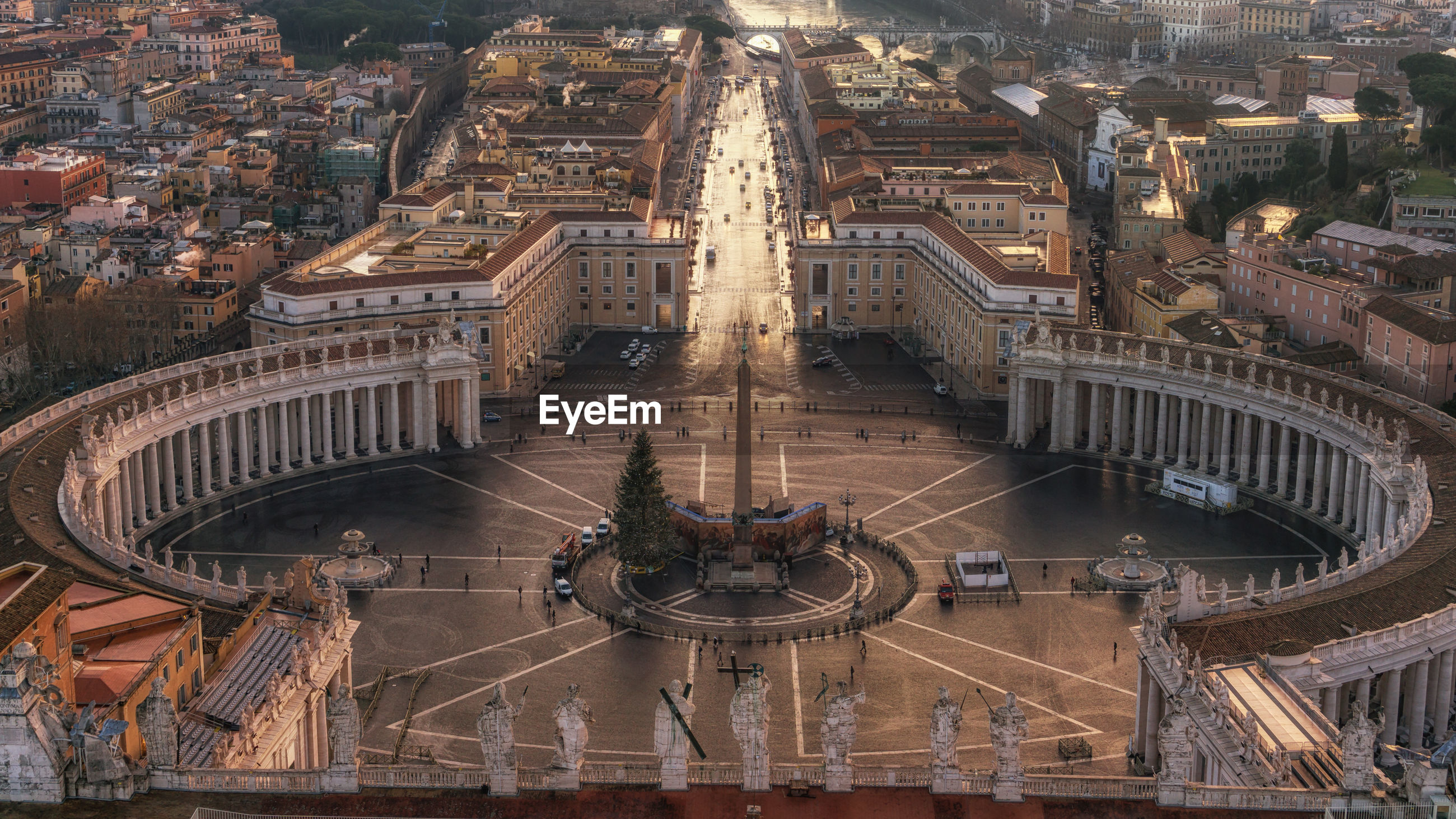 High angle view of st peter square in morning