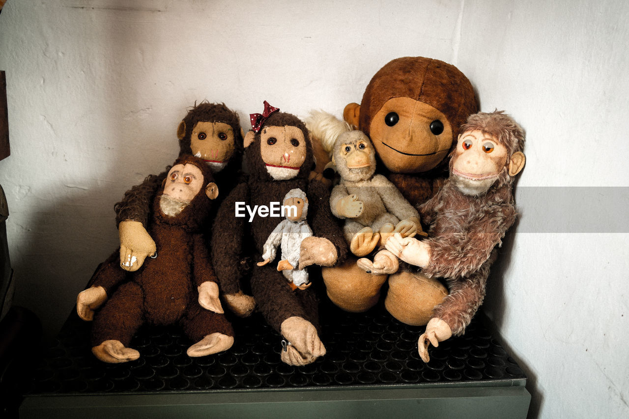 Close-up of stuffed monkeys on table against wall