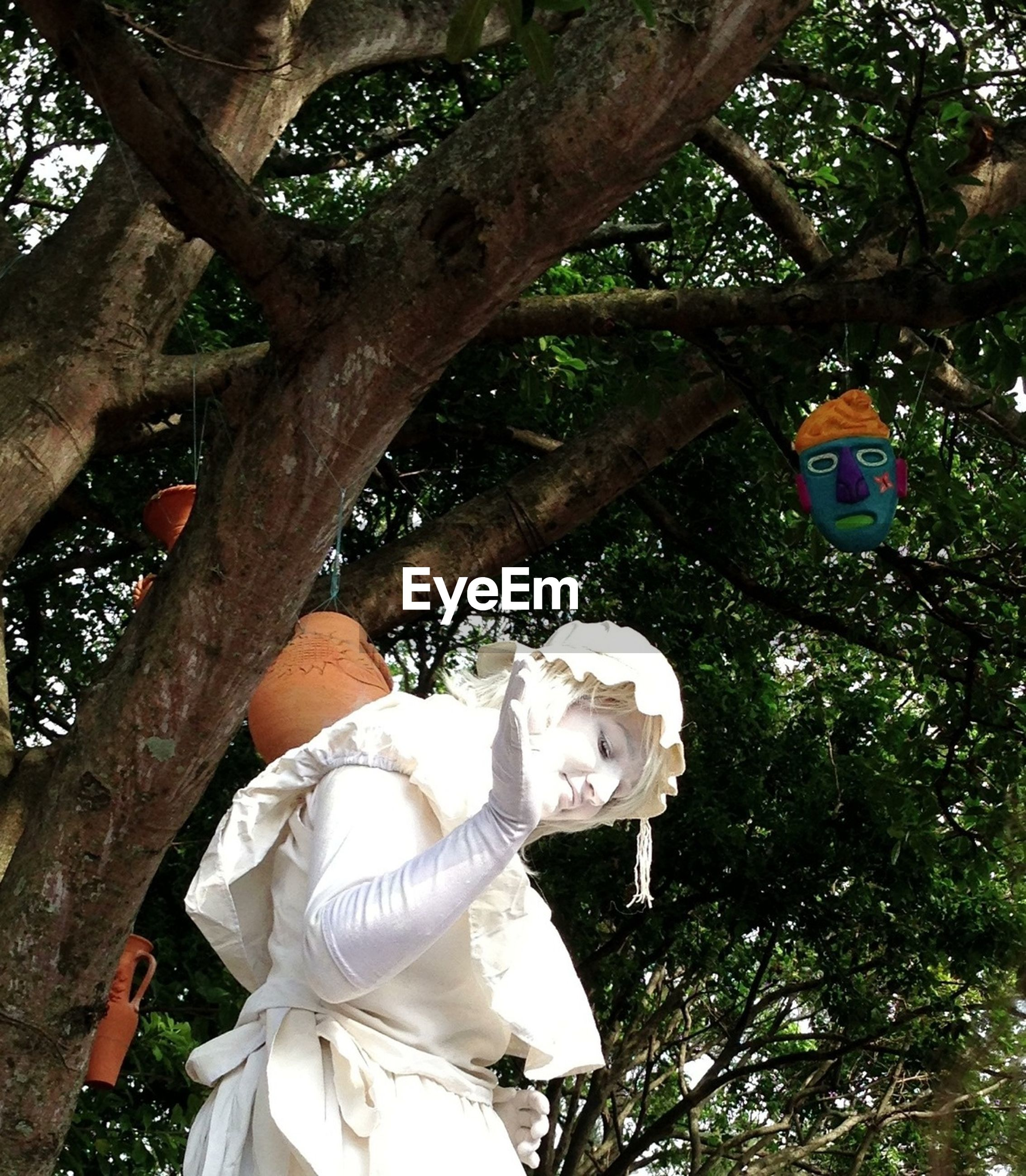 tree, statue, low angle view, sculpture, human representation, white color, art and craft, art, animal representation, creativity, branch, flower, day, outdoors, growth, tree trunk, no people, sunlight