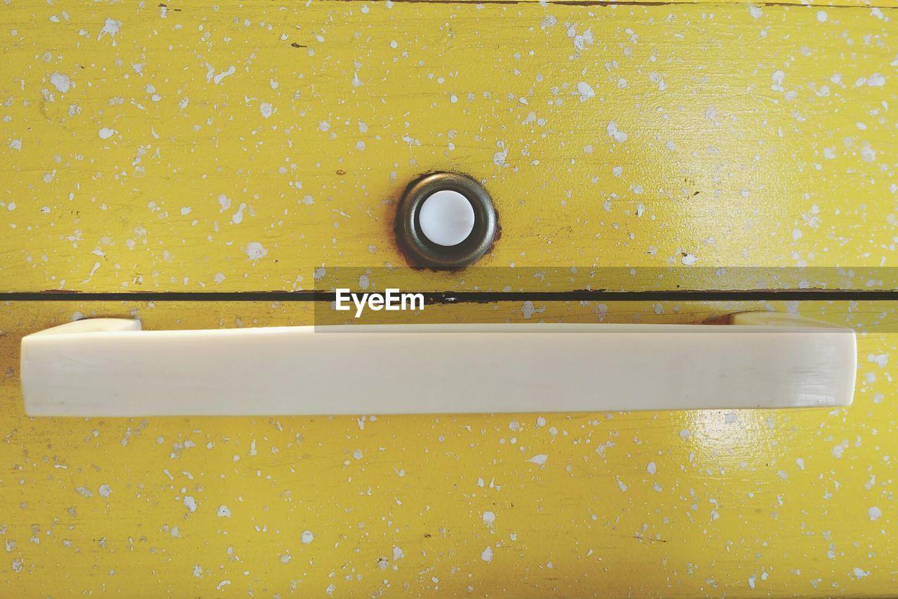 Full Frame Shot Of Yellow Wooden Box