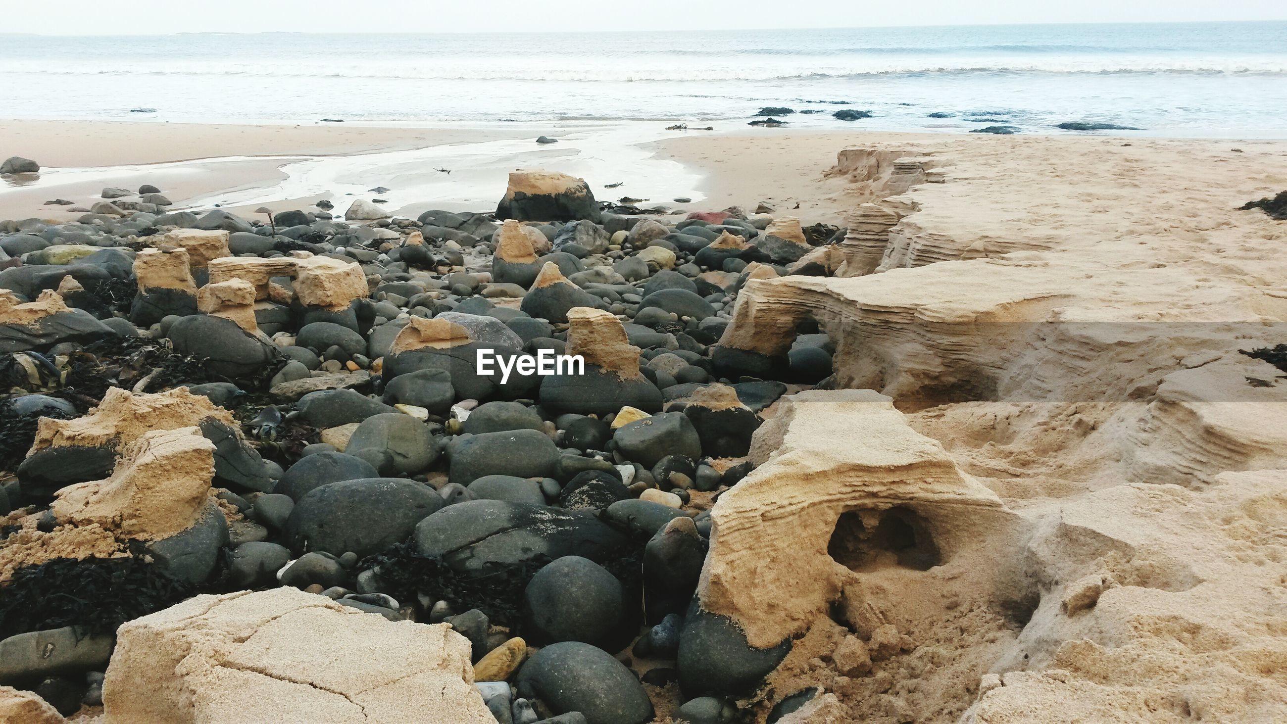 Surface level of rocks on beach