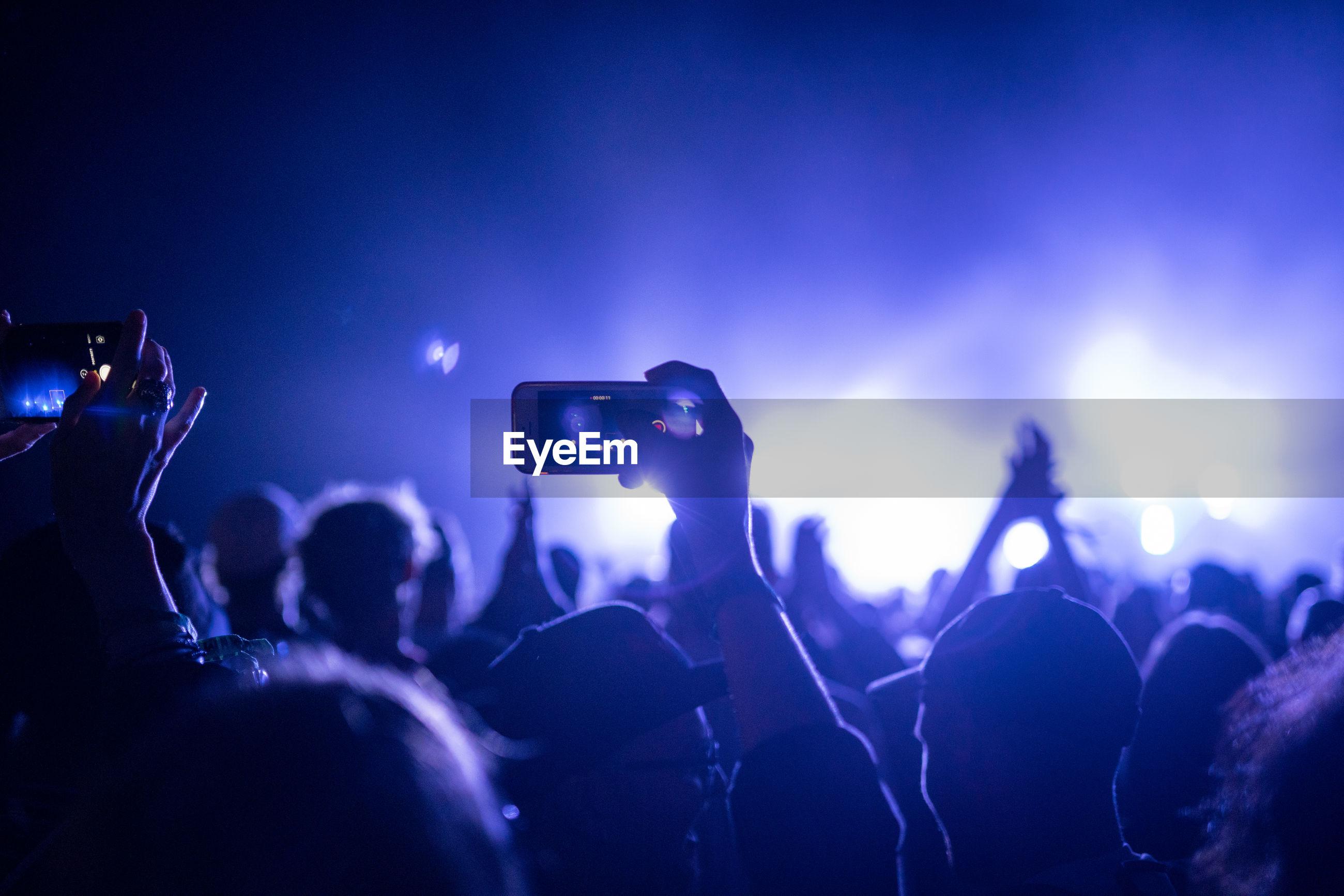 People enjoying music concert at night