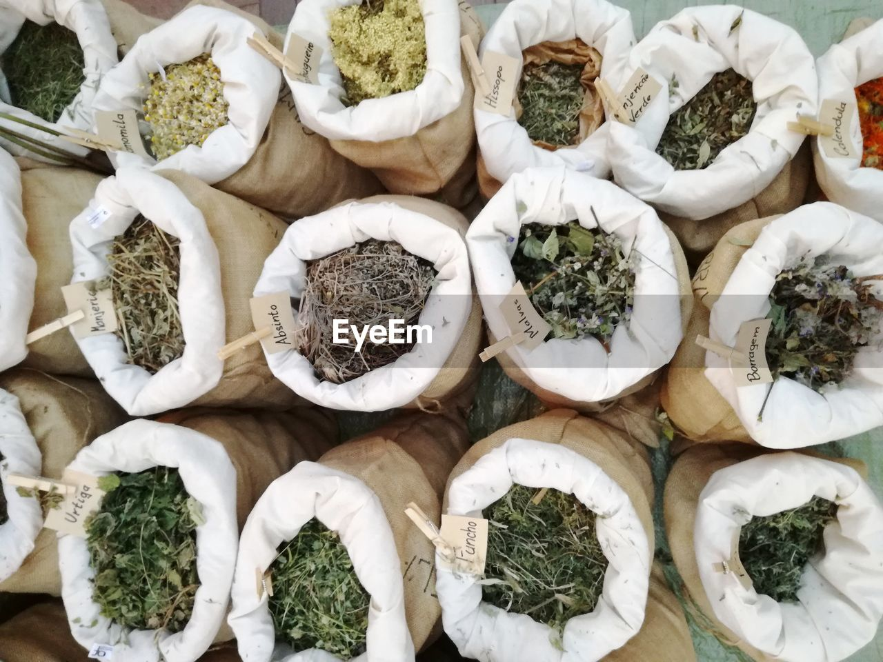 High Angle View Of Herbs In Sack