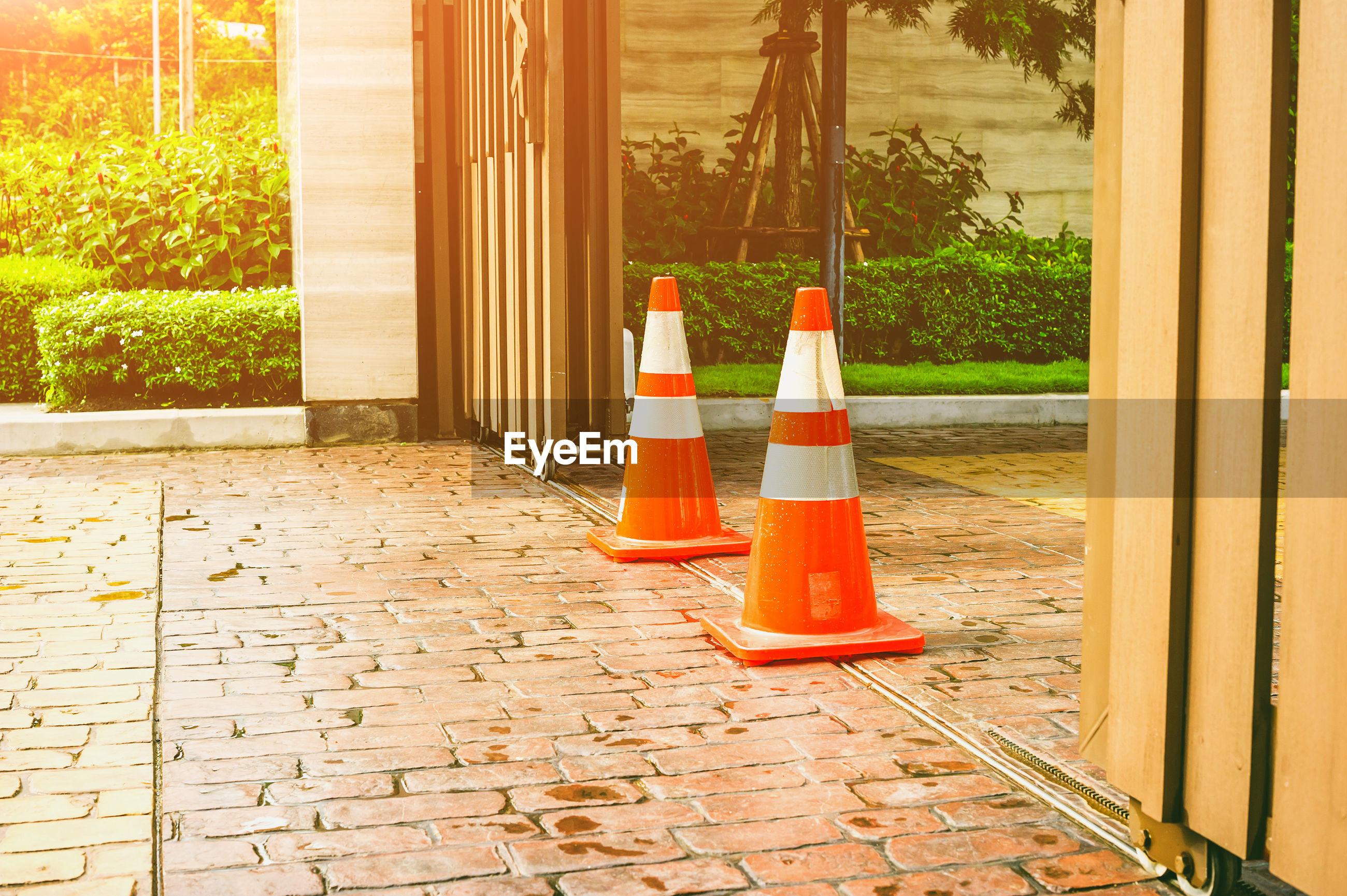 Traffic cones on footpath