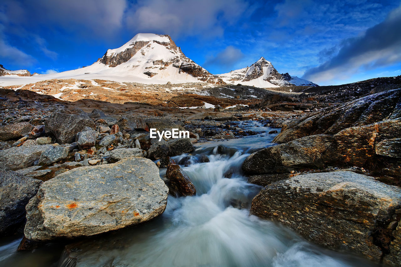 Stream Flowing Through Rocks By Snowcapped Mountain