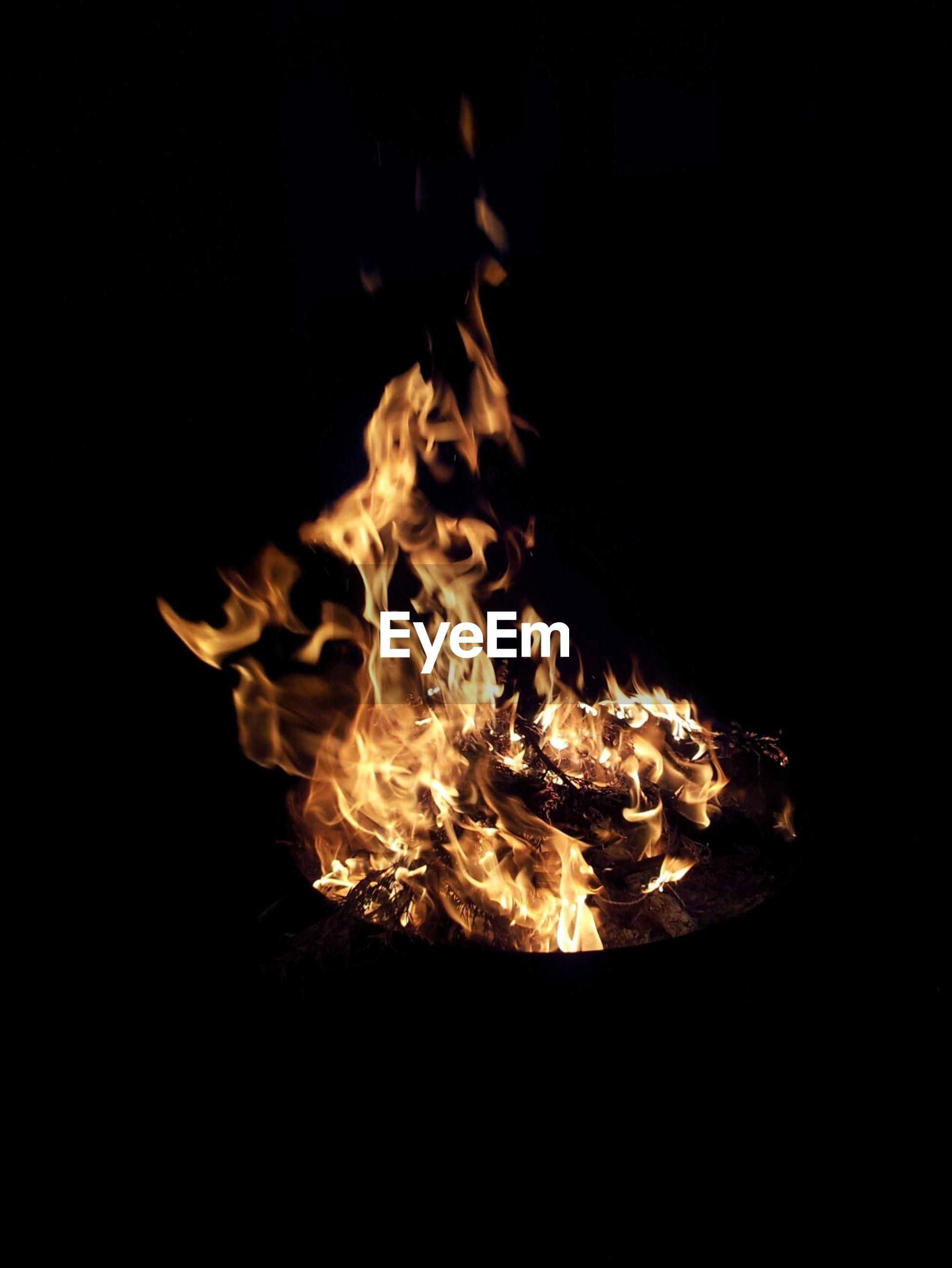 Burning fire against black background