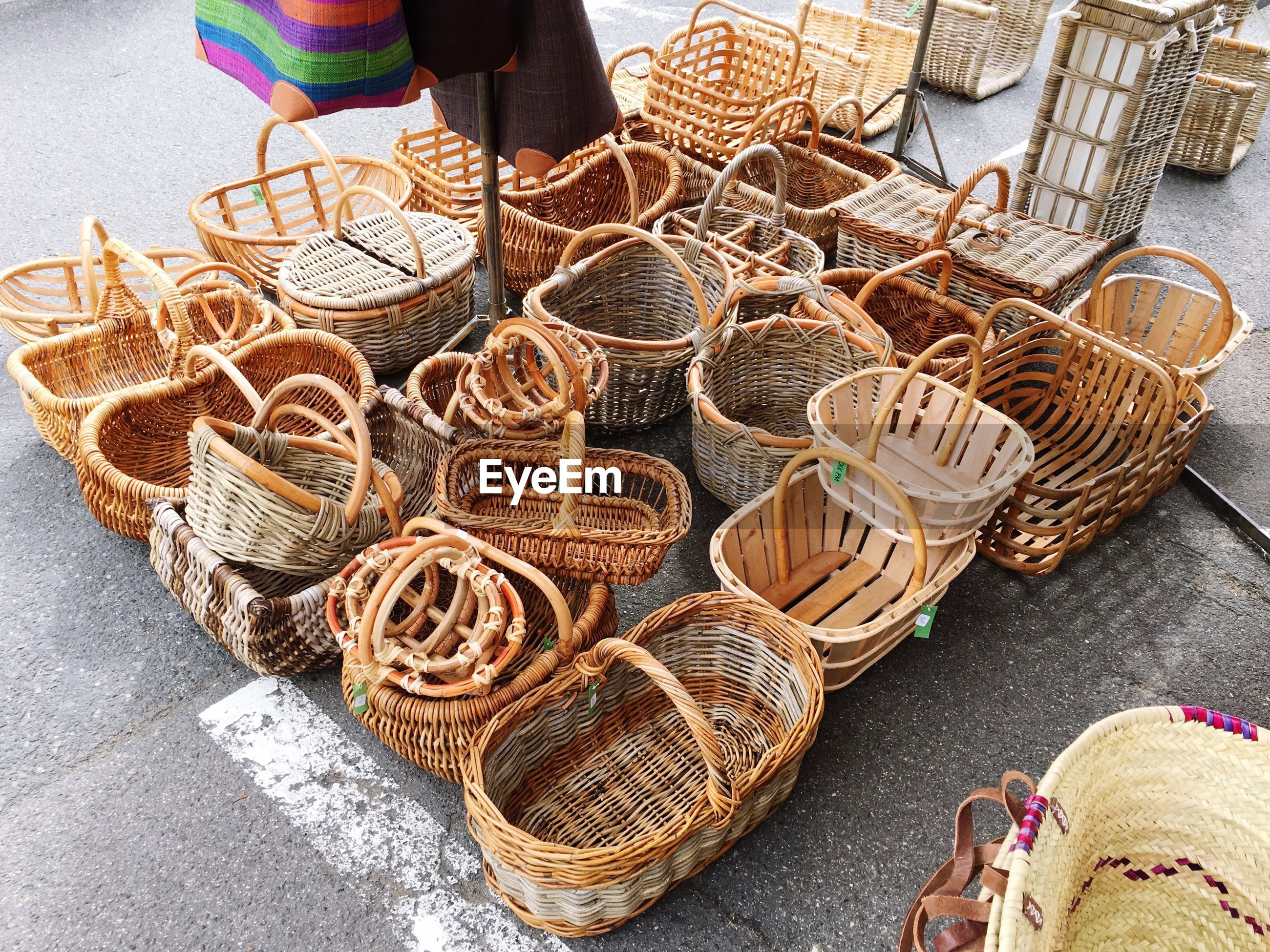 High angle view of baskets for sale at market