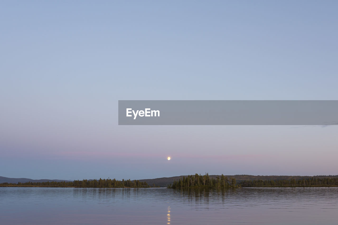 SCENIC VIEW OF LAKE AGAINST CLEAR SKY