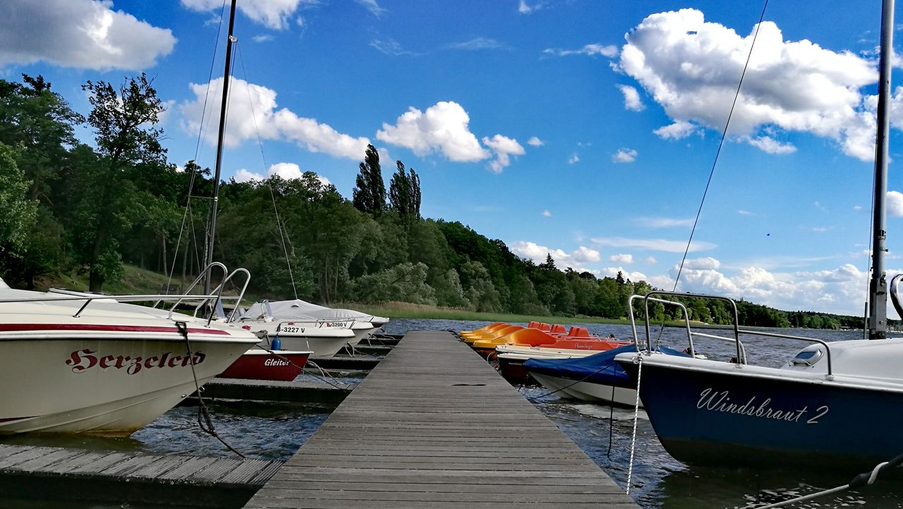 nautical vessel, transportation, sky, cloud - sky, mode of transport, moored, boat, nature, no people, day, outdoors, sea, water, tree