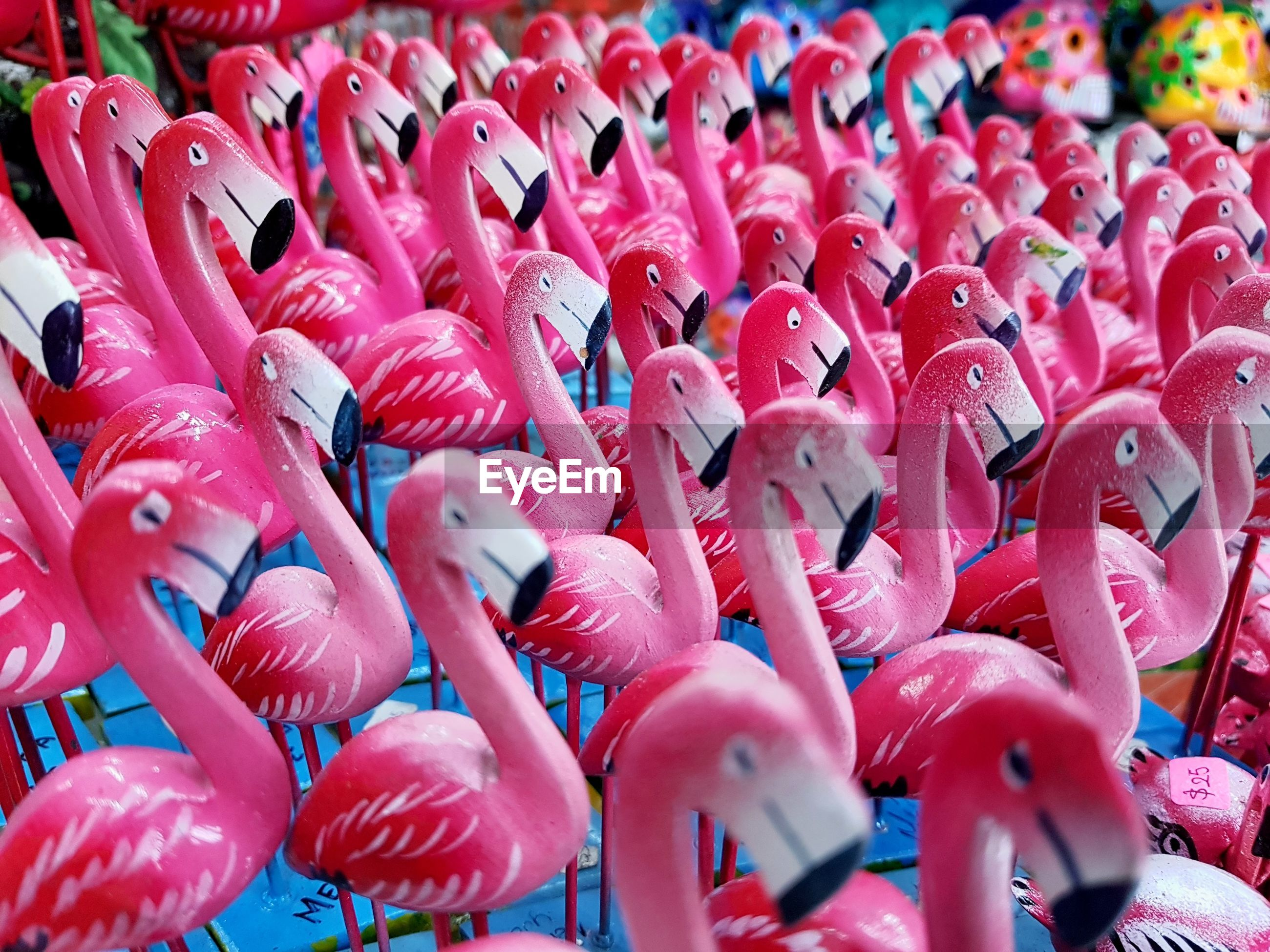 Close-up of toy flamingo for sale in market