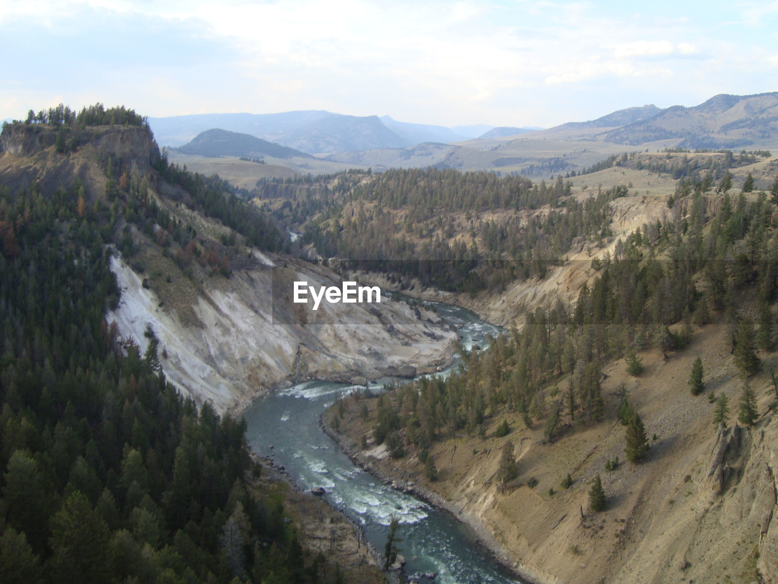 HIGH ANGLE VIEW OF RIVER FLOWING AMIDST LANDSCAPE AGAINST SKY