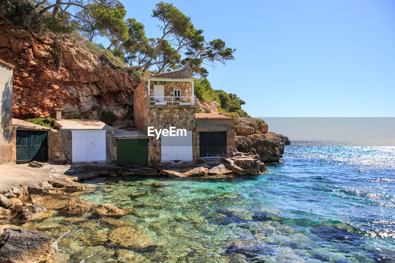 house, architecture, clear sky, no people, building exterior, sea, built structure, day, beach, water, outdoors, nature, sky