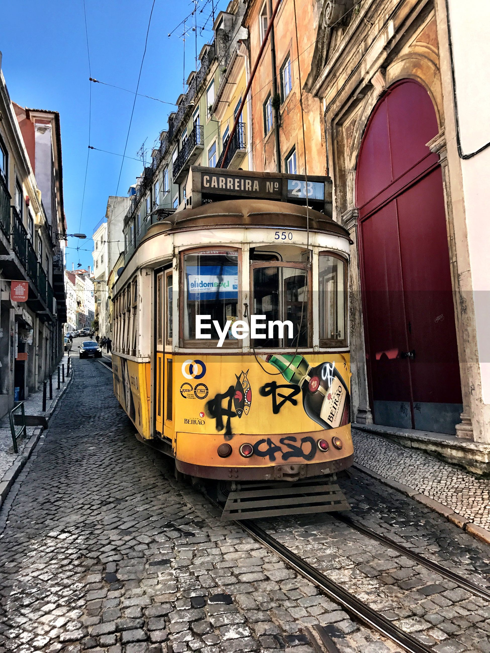Cable car on street in city