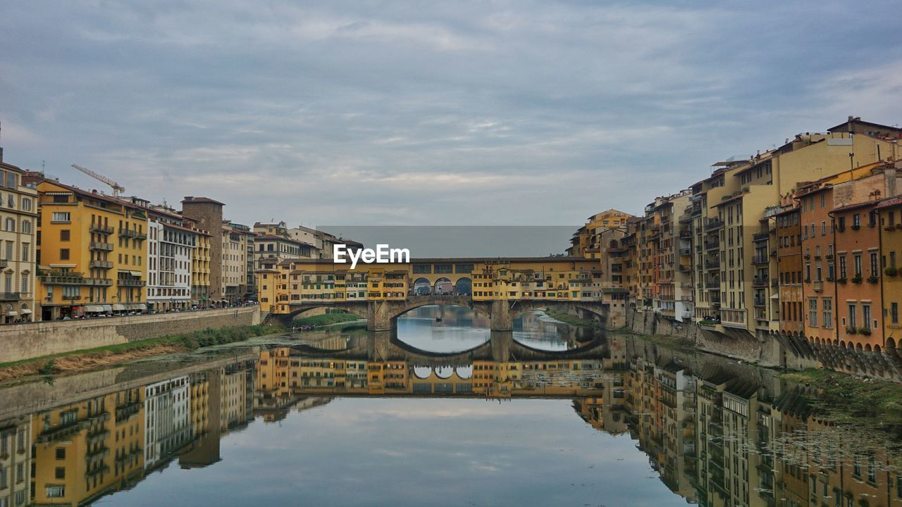 built structure, architecture, building exterior, water, sky, reflection, cloud - sky, city, nature, waterfront, bridge, building, canal, residential district, bridge - man made structure, no people, connection, transportation, day, outdoors, arch bridge